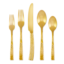 Paris Hammered Gold 5 Piece Place Setting